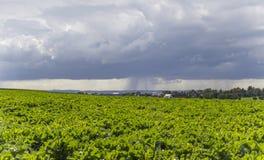 Rainy scenery with small village Royalty Free Stock Photography