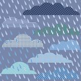 Rainy seamless pattern with clouds Stock Images