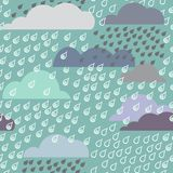 Rainy seamless pattern with clouds Stock Photography