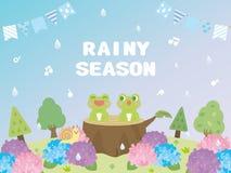 Rainy season. Background frame card vector illustration