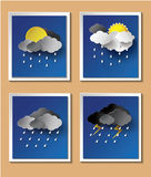 Rainy season background with raindrops and clouds. Paper cut style royalty free illustration