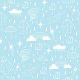 Rainy season elements seamless pattern Stock Photo