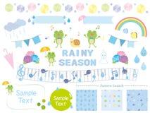 Rainy season. Rain frog icon set stock illustration