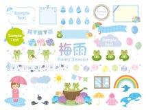 Rainy season. Frog rain set vector illustration