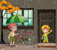 Rainy season with two boys in the rain. Illustration Royalty Free Stock Photos