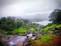 Rainy season watery days Igatpuri bhandardhara lake grass fog. Days from the past nature is beautiful royalty free stock image