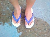 Slippers. Rainy season standing on the wet floor Royalty Free Stock Photo