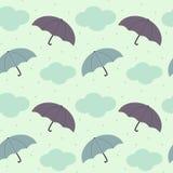 Rainy sky with colorful umbrella seasonal seamless pattern background illustration Stock Photo
