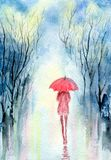 Rainy spring park. Girl under an umbrella, cloudy sky, reflection of trees on wet paths. Hand-painted watercolor illustration and paper texture Royalty Free Stock Image