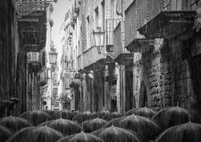 Rainy street in Barcelona Royalty Free Stock Images
