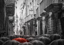 Rainy street in Barcelona Stock Images