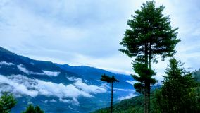 Rainy summer. A beautiful valley captured in mountains of Manali Royalty Free Stock Photos