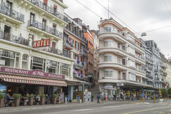 Rainy summer day in Montreux, famous town in Switzerland. Stock Images
