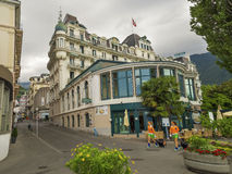 Rainy summer day in Montreux, famous town in Switzerland. Royalty Free Stock Photography