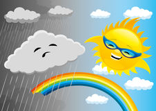 Rainy and sunny weather. Rainy and sunny weather with clouds, sun an rainbow Stock Image