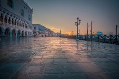 Rainy sunrise in Venice royalty free stock image