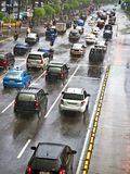 Rainy traffic jam Stock Images
