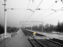 Rainy way station (BW-Y) Royalty Free Stock Images