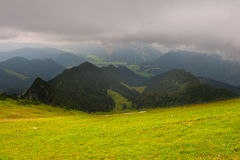 Rainy Weather. View to the City in the Bavarian Alps, Rainy Weather stock photo