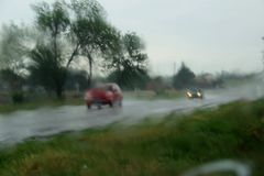 Rainy weather. Rainy weather blur in the street of Ukraine royalty free stock photos