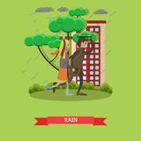 Rainy weather concept vector illustration in flat style Royalty Free Stock Images