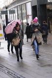 RAINY WEATHER. Copenhagen / Denmark_ 09th. November 2016 _  Shoppers and travelers under umbreallas danish weather rainy day in Copenhagen , Denmark      Photo Royalty Free Stock Images