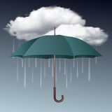 Rainy weather icon with clouds and umbrella. Vector illustration Stock Photo