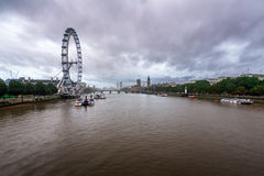 Rainy Weather over River Thames, Westminster Palace Royalty Free Stock Image