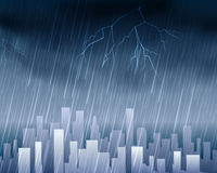 Rainy weather in town blue background Royalty Free Stock Photo
