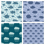 Rainy weather vector seamless patterns set Stock Photo