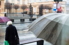 Rainy weather in warsaw Stock Photo