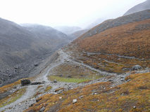 Rainy weather on way to Thorong La Pass from Muktinath, Nepal Stock Photos