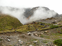 Rainy weather on way to Thorong La Pass from Muktinath, Nepal Royalty Free Stock Photography