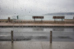A Rainy wet day from behind a window Royalty Free Stock Photography