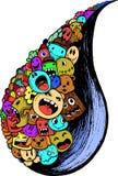 Rainy wet doodle full colour Stock Photos