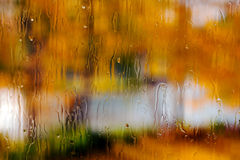 Rainy window. Taken in the autumn stock images
