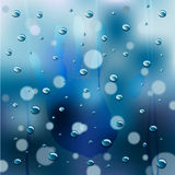 Rainy Window Background vector. Hand on the window in steam, with rain drops and drips Royalty Free Stock Image