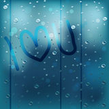 Rainy window I Heart U Stock Image