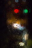 Rainy window at night. Close up Stock Image
