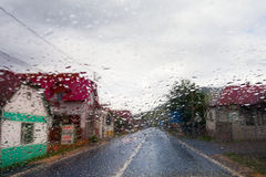 Rainy window in traffic Stock Photo