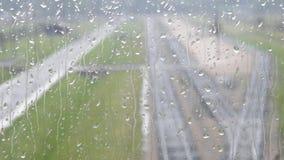 Rainy window. The view through rainy window in Brezinka (Poland Stock Image
