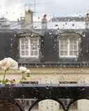 Rainy Window View in Paris Royalty Free Stock Images