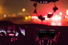 Rainy Windshield and Dashboard royalty free stock photography