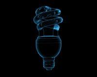 Raio X azul rendido Spir fluorescente transparente ilustração stock
