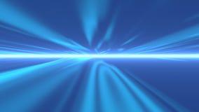 Raio de luzes azul que viajam através do espaço ilustração royalty free