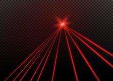 Raio laser vermelho abstrato Transparente isolado no fundo preto Ilustração do vetor Fotografia de Stock