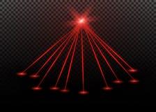 Raio laser vermelho abstrato Transparente isolado no fundo preto Ilustração do vetor Fotos de Stock