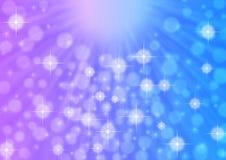 Raios claros, Sparkles e Bokeh brilhantes do sumário no azul e na Violet Background ilustração do vetor