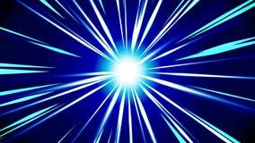 Raios de Starburst no espaço Animação do laço do feixe dos desenhos animados Fundo futuro do conceito da tecnologia Estrela da ex ilustração do vetor