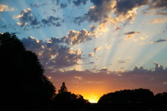 Raios do por do sol Imagens de Stock Royalty Free